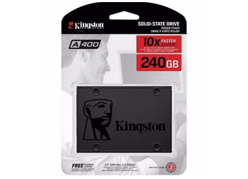 DISCO RIGIDO SOLIDO SSD 240GB 2.5 SATA III KINGSTON A400 LECTURA HASTA 500MB ESCRITURA HASTA 450MB