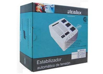 ESTABILIZADOR DE TENSION ATOMLUX H1000@ 3 BOCAS PROTECCION RJ11