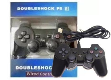 JOYSTICK DOUBLE SHOCK PS3 PLAYSTATION 3 SOLO POR CABLE NO ES BLUETOOTH - NO DICE SONY - NEGRO