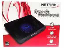 BASE PARA NOTEBOOK NETMAK NM-N019 33CMx25CM COOLER 14CM  SILENCIOSO LUZ LED REJILLA METALICA HASTA 15 PULGADAS