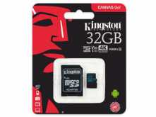 MICROSD 32GB CLASE 10 KINGSTON CANVAS GO V30 U3 90MB 1080P 4K UTRA HD CON ADAPTADOR A SD