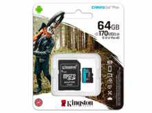 MICROSD 64GB CLASE 10 KINGSTON CANVAS GO V30 U3 90MB 1080P 4K UTRA HD CON ADAPTADOR A SD
