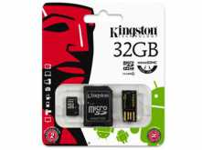 KIT MICROSD + ADAPTADOR + LECTOR 32GB CLASE 4 KINGSTON