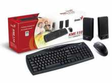 KIT TECLADO + MOUSE + PARLANTES GENIUS KMS 110 USB CON CABLE