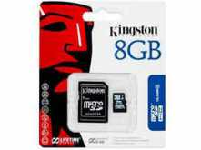 MICROSD 8GB CLASE 4 KINGSTON CON ADAPTADOR A SD