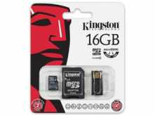 KIT MICROSD + ADAPTADOR + LECTOR 16GB CLASE 4 KINGSTON